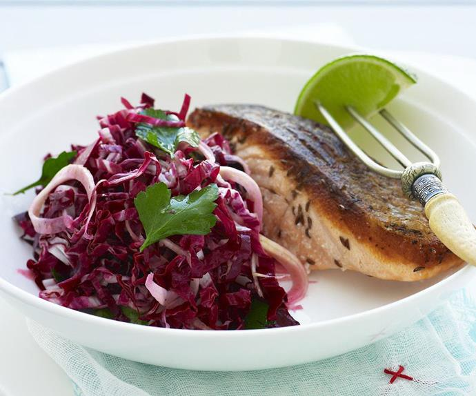 beetroot and fennel salad with caraway salmon