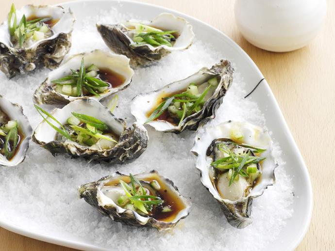 """**[Oysters with mirin and cucumber](https://www.womensweeklyfood.com.au/recipes/oysters-with-mirin-and-cucumber-9552