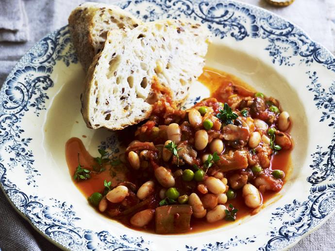 "A rich and warming [leek, bean and mushroom bake](https://www.womensweeklyfood.com.au/recipes/leek-bean-and-mushroom-bake-9561|target=""_blank"") infused with red wine, passata and fresh thyme."