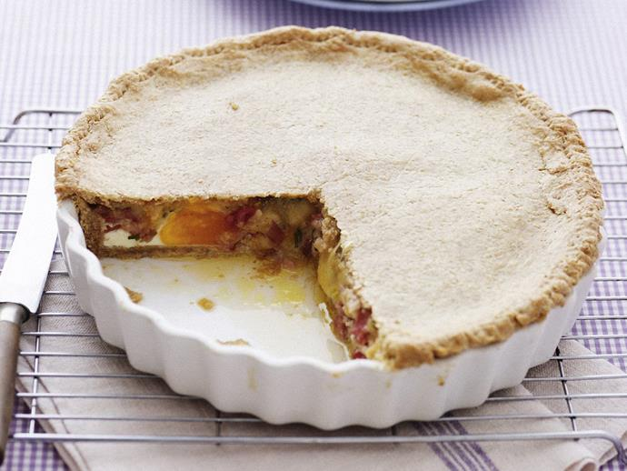 "[Cheesy bacon and egg pie](https://www.womensweeklyfood.com.au/recipes/cheesy-egg-and-bacon-pie-8952|target=""_blank"")"