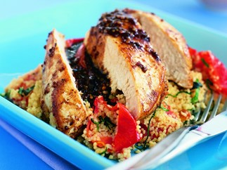 balsamic-glazed chicken breasts with tomato and basil couscous
