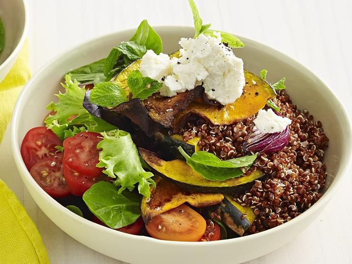 "**[Balsamic-roasted pumpkin and red quinoa salad](http://www.womensweeklyfood.com.au/recipes/balsamic-roasted-pumpkin-and-red-quinoa-salad-8980|target=""_blank"")**"