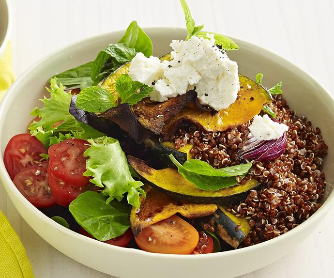 balsamic-roasted pumpkin and red quinoa salad