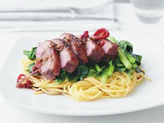 Soy duck breasts with noodles
