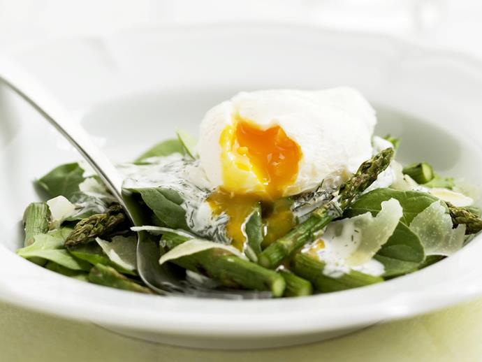 "**[Asparagus and spinach with poached egg and pecorino](https://www.womensweeklyfood.com.au/recipes/asparagus-and-spinach-with-poached-egg-and-pecorino-15186|target=""_blank"")**  A simple salad made with tender spinach and asparagus, topped with rich, creamy poached egg and punchy pecorino cheese."