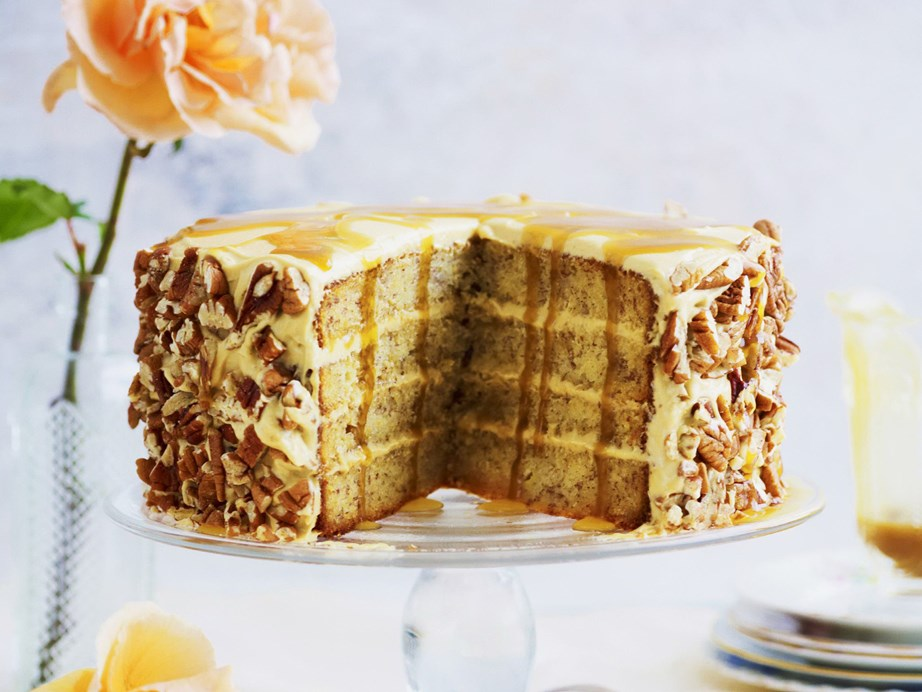 "Level up with this epic [layered banana and butterscotch cake.](https://www.womensweeklyfood.com.au/recipes/layered-banana-butterscotch-cake-3686|target=""_blank"")"