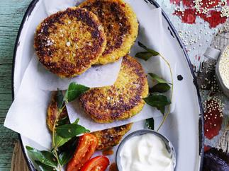 indian-spiced quinoa cakes with tomatoes