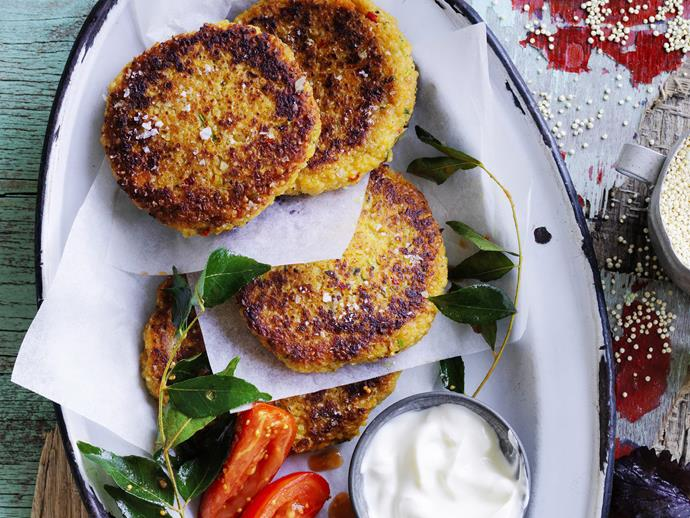 "[Indian-spiced quinoa cakes with tomatoes](http://www.womensweeklyfood.com.au/recipes/indian-spiced-quinoa-cakes-with-tomatoes-8990|target=""_blank"")"