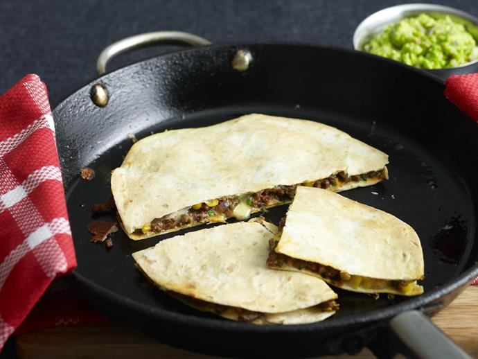 """**[Lamb and corn quesadillas](https://www.womensweeklyfood.com.au/recipes/lamb-and-corn-quesadillas-8999