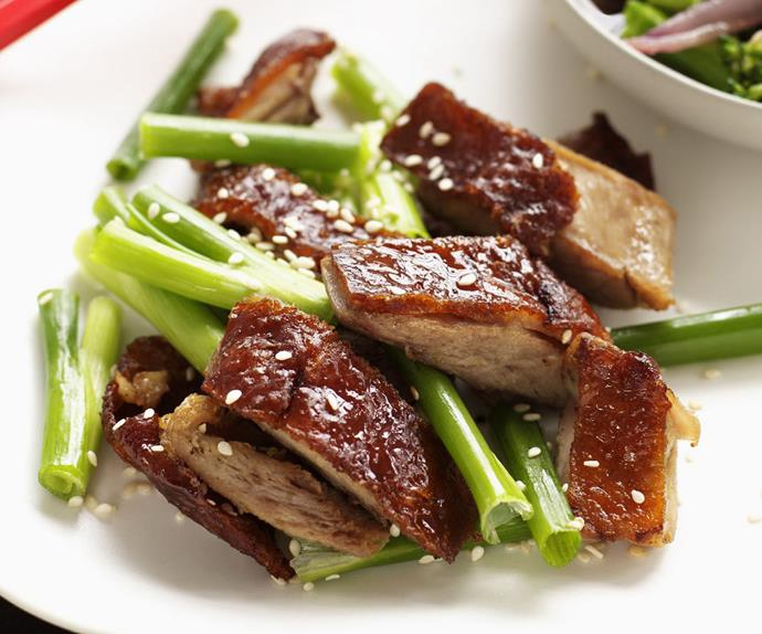 sweet and sour duck with broccolini