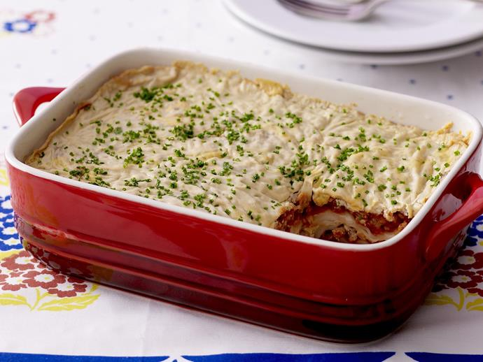 "**[Beef lasagne](https://www.womensweeklyfood.com.au/recipes/beef-lasagne-9017|target=""_blank"")**  This delicious beef lasagne is gluten-free, wheat-free, yeast-free, dairy-free, egg-free and nut-free."