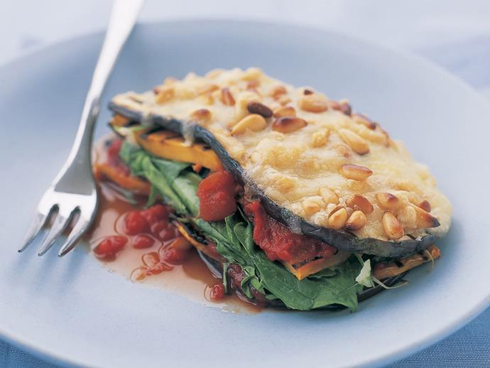 "These [eggplant and pumpkin stacks](https://www.womensweeklyfood.com.au/recipes/eggplant-and-pumpkin-stacks-9038|target=""_blank"") are a great recipe to try to expand a vegetarian menu. They are hearty and full of flavour."