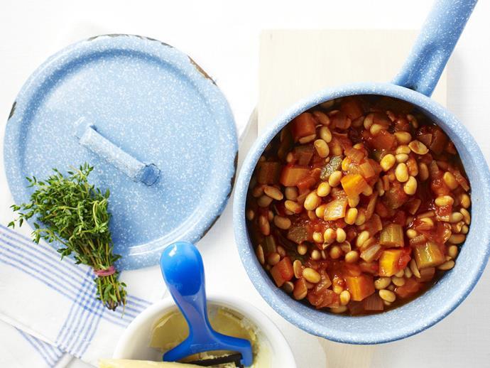 "**[Soya bean casserole](https://www.womensweeklyfood.com.au/recipes/soya-bean-casserole-3714|target=""_blank"")**  A healthy and filling vegetarian casserole packed full of flavour."