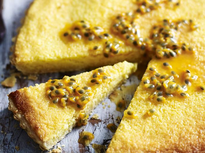 "**[Coconut and passionfruit tart recipe](https://www.womensweeklyfood.com.au/recipes/coconut-and-passionfruit-tart-15193|target=""_blank"")**"