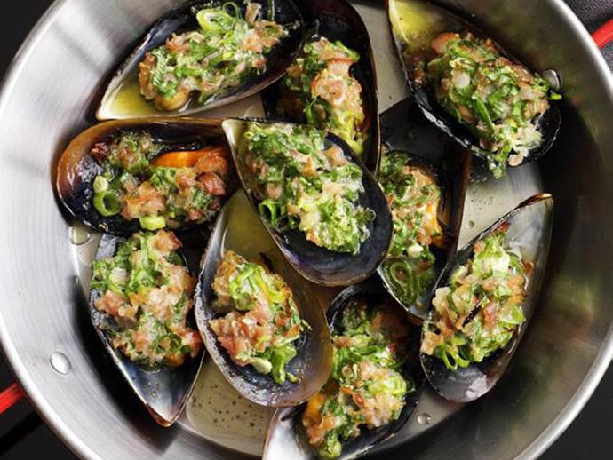 """**[Grilled mussels with prosciutto](https://www.womensweeklyfood.com.au/recipes/grilled-mussels-with-prosciutto-9071