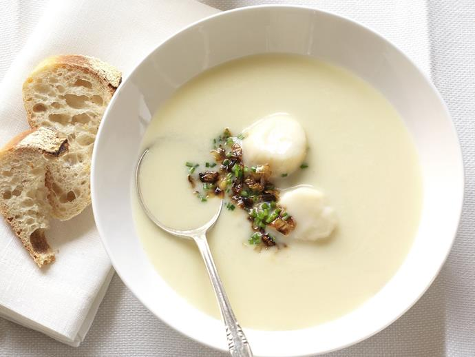"Silky smooth [leek and potato soup](https://www.womensweeklyfood.com.au/recipes/leek-and-potato-soup-with-scallops-9085|target=""_blank"") becomes something special when finished with plump scallops and caramelised leek."