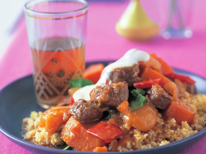 """This [lamb and apricot tagine with citrus couscous](https://www.womensweeklyfood.com.au/recipes/lamb-and-apricot-tagine-with-citrus-couscous-15195