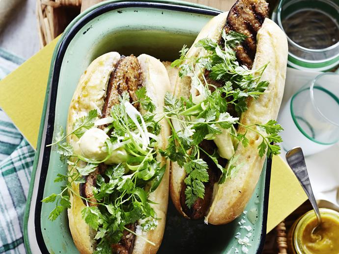 "**[Red wine marinated sausages & herb salad rolls](https://www.womensweeklyfood.com.au/recipes/red-wine-marinated-sausages-and-herb-salad-rolls-3744|target=""_blank"")**  Delicious summer rolls with red wine marinated sausages and a parsley and chervil salad."