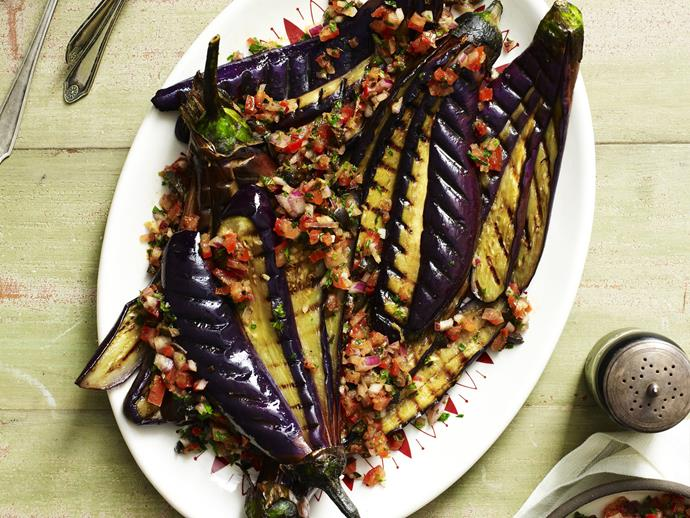 "**[Eggplant and tomato salad](https://www.womensweeklyfood.com.au/recipes/eggplant-and-tomato-salad-9090|target=""_blank"")**"