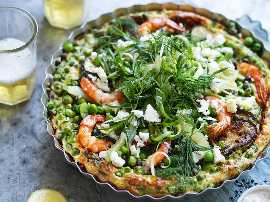 "This hearty [prawn, pea and broad bean frittata](https://www.womensweeklyfood.com.au/recipes/prawn-pea-and-broad-bean-frittata-3749|target=""_blank"") is an impressive, yet simple, dish to bring to the table."