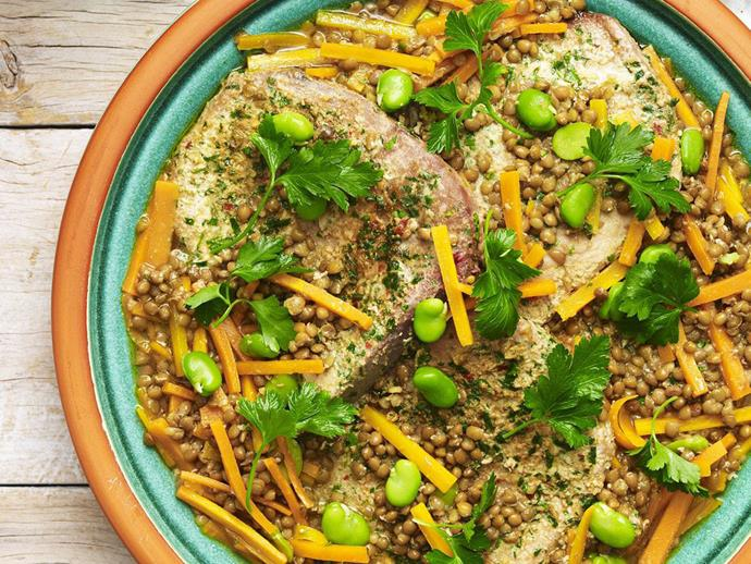 """**[Tuna tagine with lentils and beans](https://www.womensweeklyfood.com.au/recipes/tuna-tagine-with-lentils-and-beans-9103