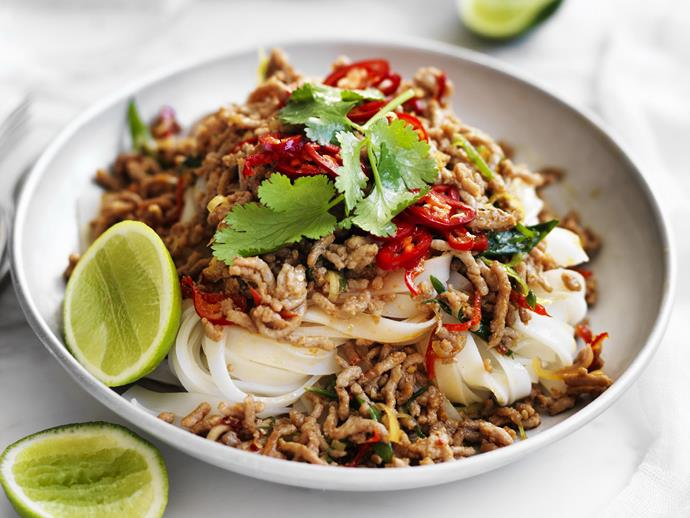 "If you're looking for something quick and easy for a mid-week family meal, look no further than our [pork with rice noodles](https://www.womensweeklyfood.com.au/recipes/pork-with-rice-noodles-15198|target=""_blank""). Adjust the chilli for heat, and it can be on the table in under half an hour."