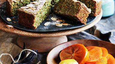 Pistachio almond cake with poached persimmons