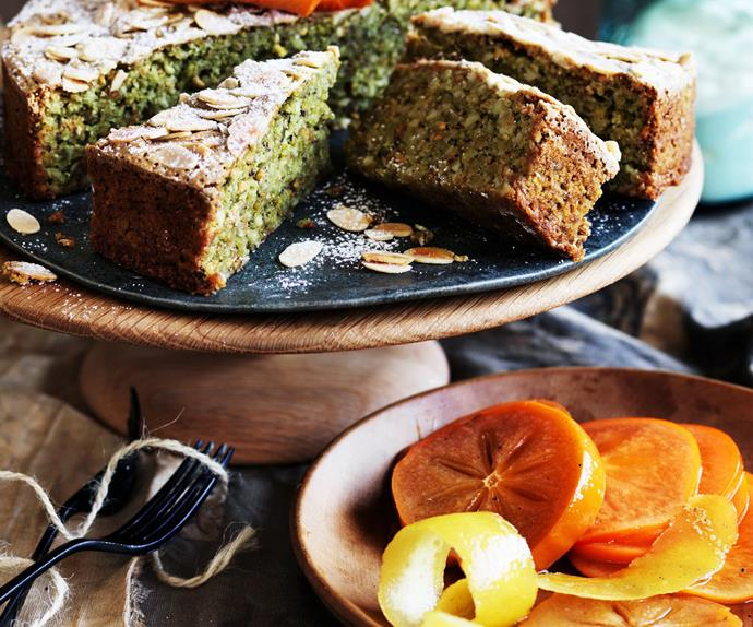 Pistachio ALMOND CAKE WITH poachedpersimmons