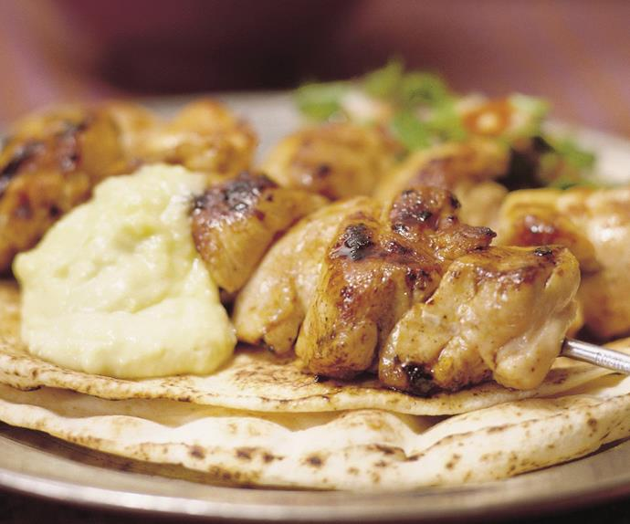 chicken kebabs with garlic sauce