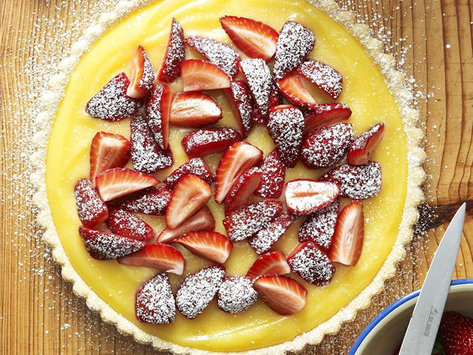 "**[Strawberry and lemon curd tart](https://www.womensweeklyfood.com.au/recipes/strawberry-and-lemon-curd-tart-3782|target=""_blank"")**"