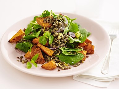 Moroccan lentil and roasted kumara salad
