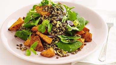 Moroccan lentil and roasted kumara salad