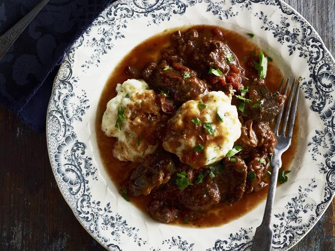 "**[Beef casserole with cheesy herb dumplings](https://www.womensweeklyfood.com.au/recipes/beef-casserole-with-cheesy-herb-dumplings-15203|target=""_blank"")**"