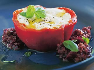 Goat-cheese-stuffed roast capsicum with tapenade