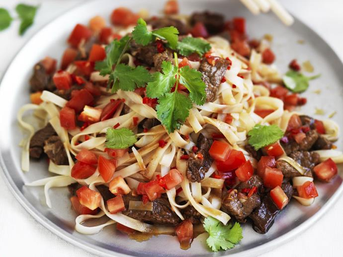 "Fragrant and spicy [Thai beef and noodle stir-fry](https://www.womensweeklyfood.com.au/recipes/thai-spicy-beef-and-noodle-stir-fry-9195|target=""_blank"")."