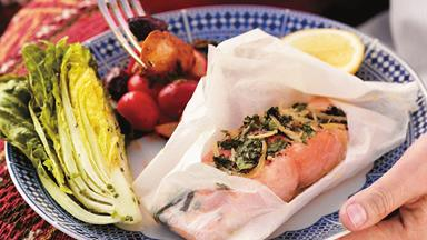 Salmon baked in paper with preserved lemon and herbs