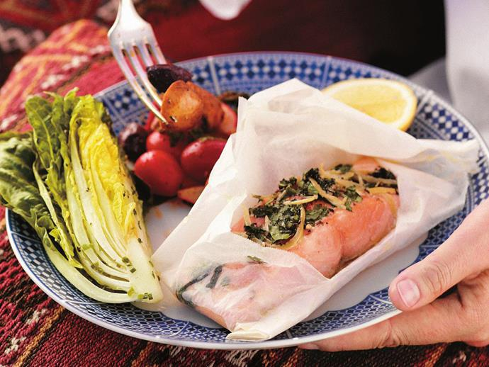 "**[Salmon baked in paper with preserved lemon and herbs](https://www.womensweeklyfood.com.au/recipes/salmon-baked-in-paper-with-preserved-lemon-and-herbs-3485|target=""_blank"")**"