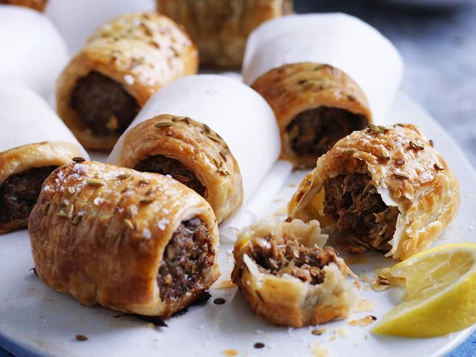 "**[Middle Eastern sausage rolls](https://www.womensweeklyfood.com.au/recipes/middle-eastern-sausage-rolls-3489|target=""_blank"")**"