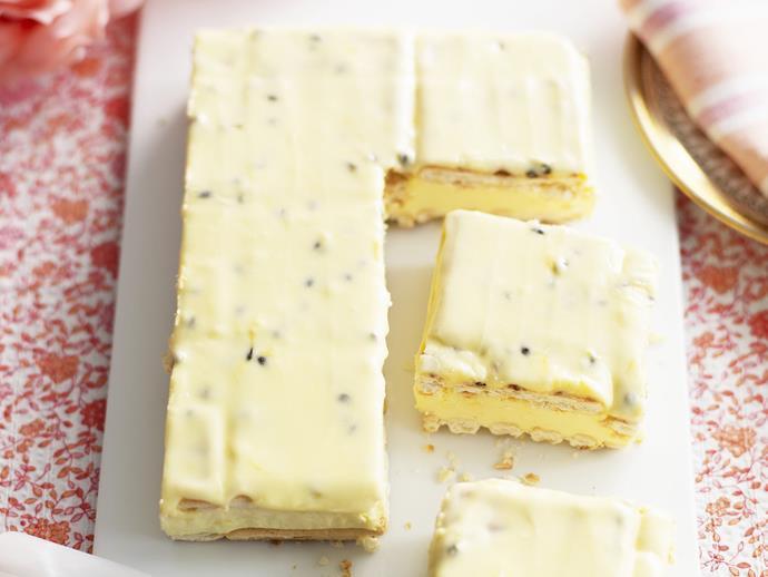 "**[Lattice slice with passionfruit icing](https://www.womensweeklyfood.com.au/recipes/lattice-slice-with-passionfruit-icing-3505|target=""_blank"")**"