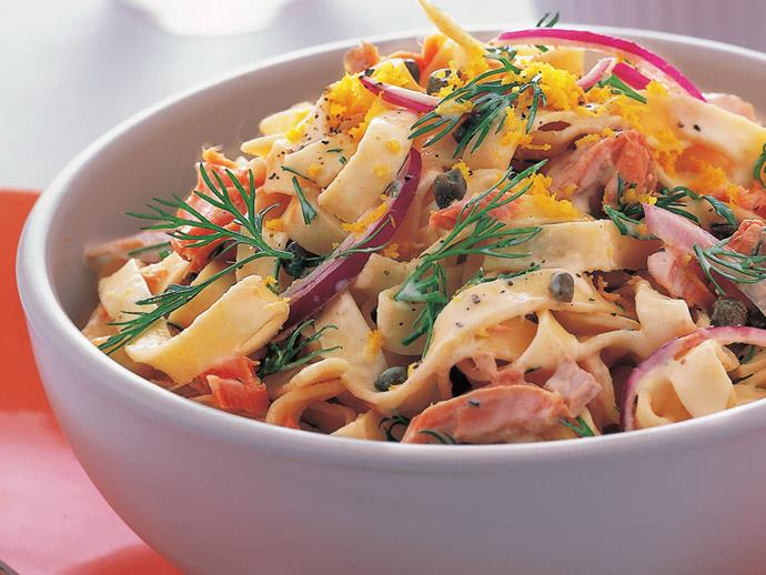 """**[Fettuccine with creamy salmon and dill sauce](https://www.womensweeklyfood.com.au/recipes/fettuccine-with-creamy-salmon-and-dill-sauce-9233
