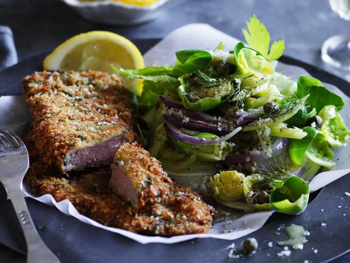 """Make the national pub favourite for dinner at home with this fab [veal schnitzel with winter slaw](https://www.womensweeklyfood.com.au/recipes/veal-schnitzel-with-winter-slaw-9238