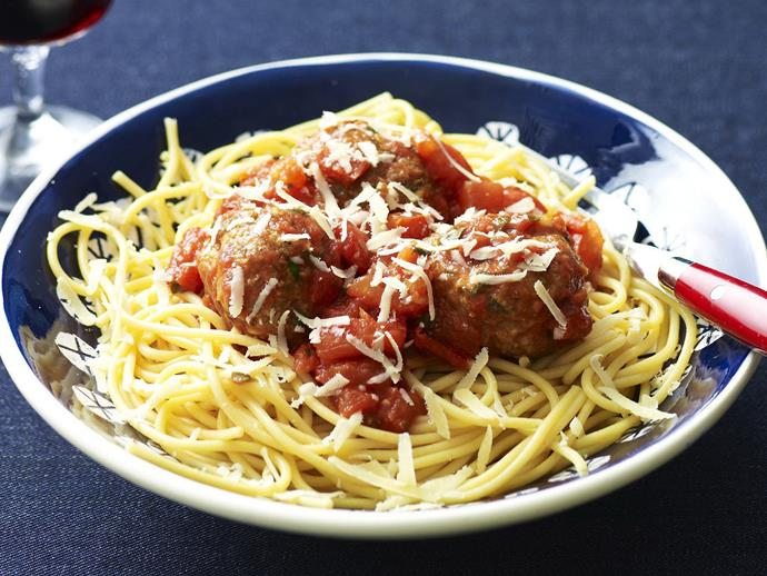 """Make an iconic bowl of [spaghetti and meatballs](https://www.womensweeklyfood.com.au/recipes/pork-and-veal-meatballs-with-fresh-tomato-sauce-8648 target=""""_blank"""") with this delicious pork and veal meatball recipe. Cooking in a deliciously spiced tomato sauce, this one is sure to hit the spot."""