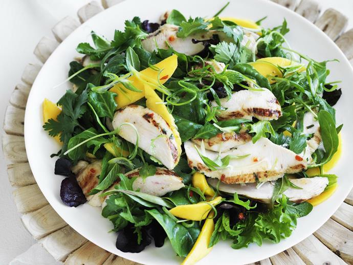 "This fresh and zingy [chicken and mango salad](https://www.womensweeklyfood.com.au/recipes/fragrant-vietnamese-chicken-and-mango-salad-8656|target=""_blank"") is great for lunch or dinner. It can even be used as a side to take along to a BBQ or dinner party!"