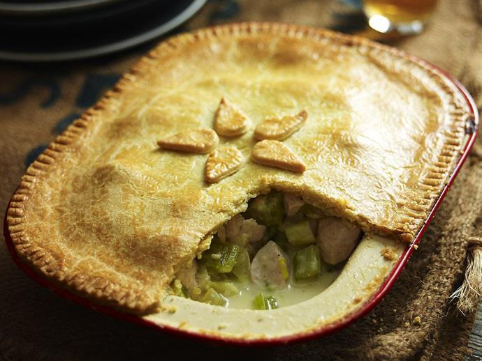 "**[Chicken, fennel and celery pie](https://www.womensweeklyfood.com.au/recipes/chicken-fennel-and-celery-pie-8661|target=""_blank"")**  For a comforting family meal, try this creamy chicken pie topped with crispy sour cream pastry."