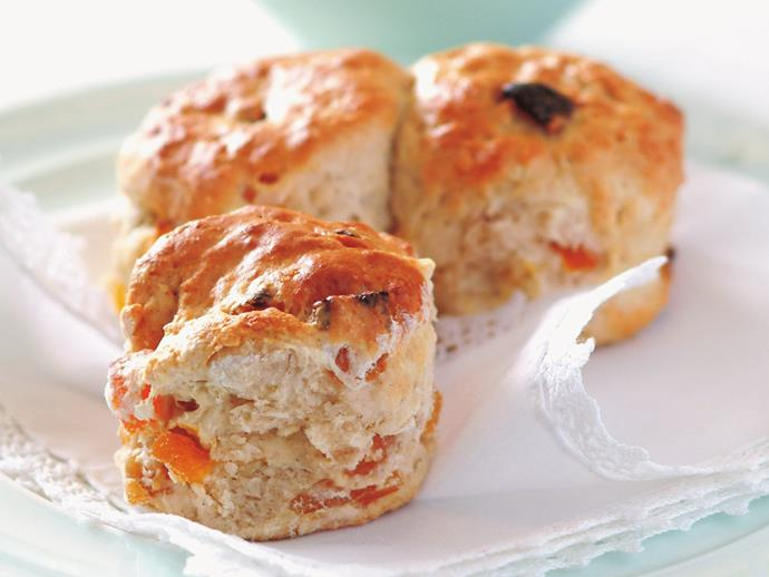 "[Apricot and almond scones](https://www.womensweeklyfood.com.au/recipes/apricot-and-almond-scones-8701|target=""_blank"")  Bursts of sweetness from dried apricot and added crunch from slivered almond gives these scones an extra boost."