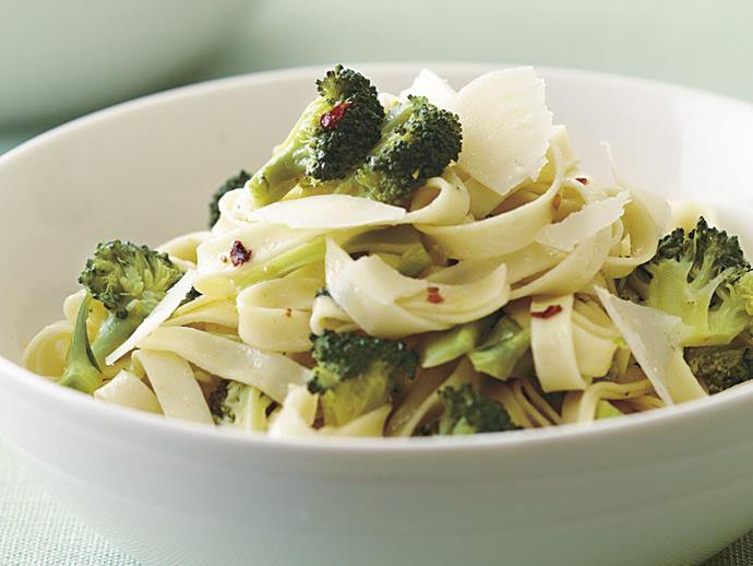 "This tagliatelle [pasta with broccoli and anchovies](https://www.womensweeklyfood.com.au/recipes/pasta-with-broccoli-and-anchovies-15216|target=""_blank"") is simple and delicious. Don't let the family be put off by the addition of anchovies, they leave no overwhelming fishy taste, just a delicious savoury flavour."