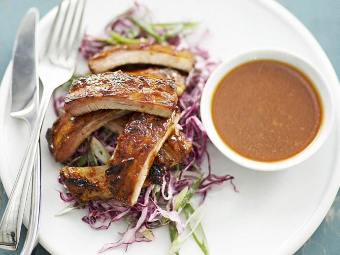 "[Barbecued pork spareribs with red cabbage slaw.](http://www.foodtolove.com.au/recipes/barbecued-pork-spareribs-with-red-cabbage-coleslaw-15763|target=""_blank"")"