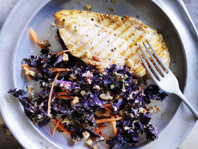"[Kale salad with creamy zucchini dressing](https://www.womensweeklyfood.com.au/recipes/kale-salad-with-creamy-zucchini-dressing-8726|target=""_blank"")"