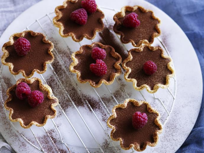 "**[Drunken mocha mousse tartlets](https://www.womensweeklyfood.com.au/recipes/drunken-mocha-mousse-tartlets-8741|target=""_blank"")**  The key element to this recipe is the texture of the mousse. It needs to be light and fluffy; be careful not to press out too many of the air bubbles while folding the mixture to ensure the best results."