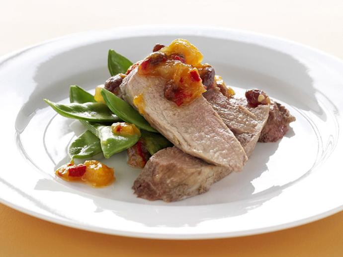 """**[Roasted pork fillet with relish](https://www.womensweeklyfood.com.au/recipes/roasted-pork-fillet-with-relish-3552